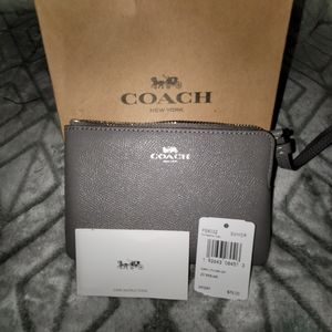 Authentic, Coach, Small, Gray, Leather Wristlet